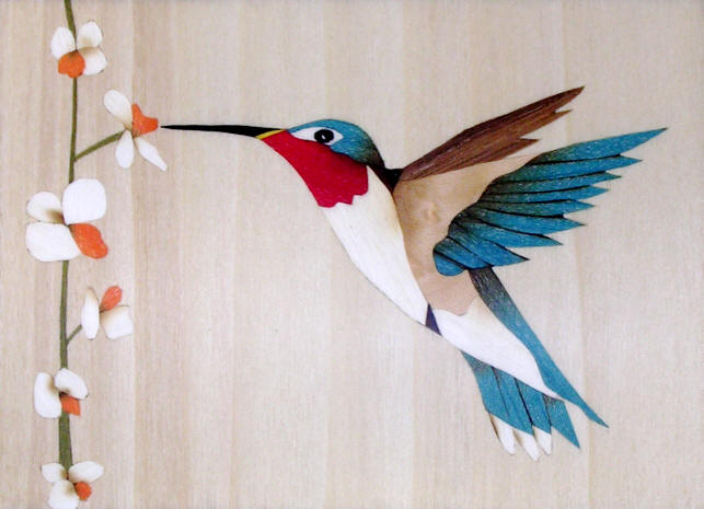 hummingbird in marquetry