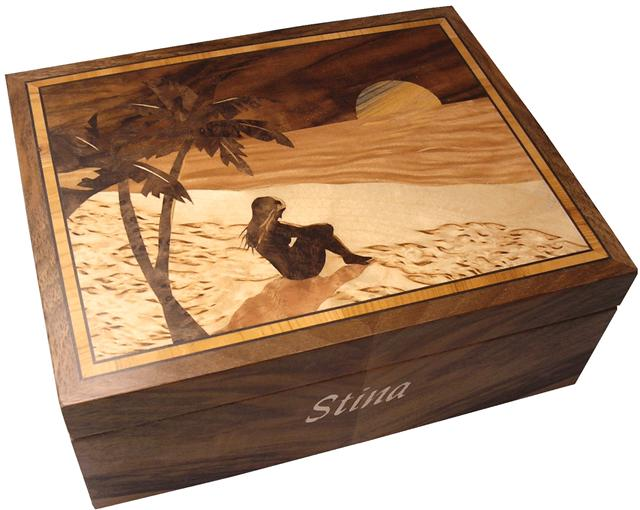 Box with marquetry decoration