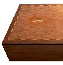 Fly-tying box with marquetry inlay