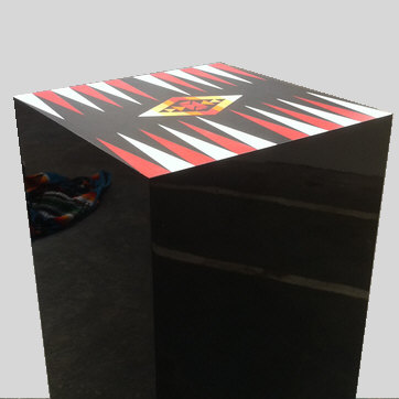 backgammon board on plinth