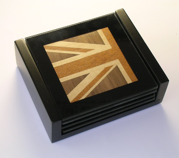 glass coasters with marquetry inserts
