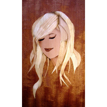marquetry picture of a girl
