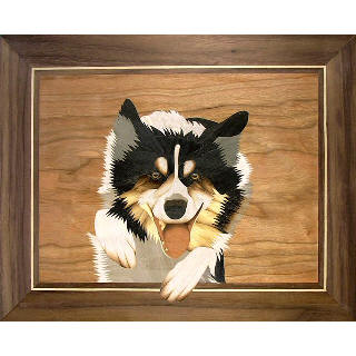 Marquetry picture of a border collie