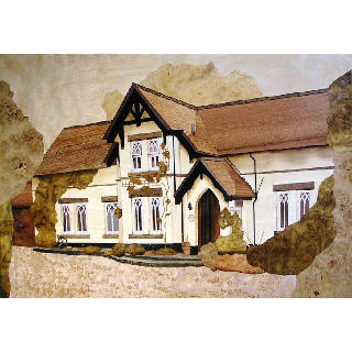 Marquetry picture of a house