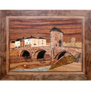marquetry picture of a medieval bridge