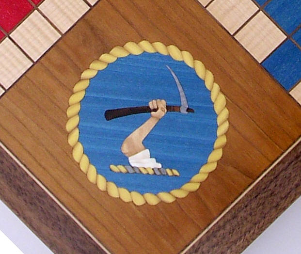Decorated corner of Uckers (Ludo) board