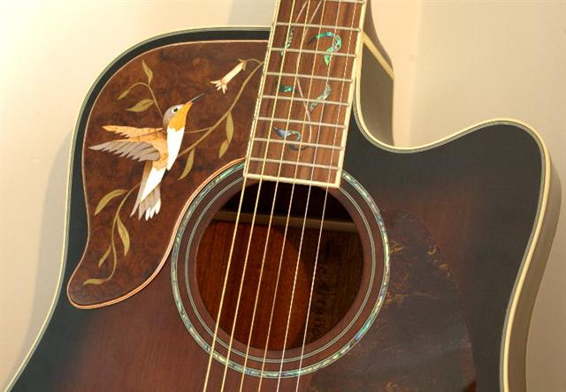 marquetry trim on guitar