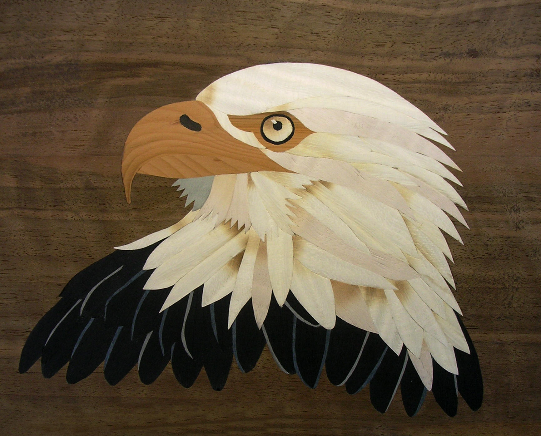 Marquetry bald eagle design