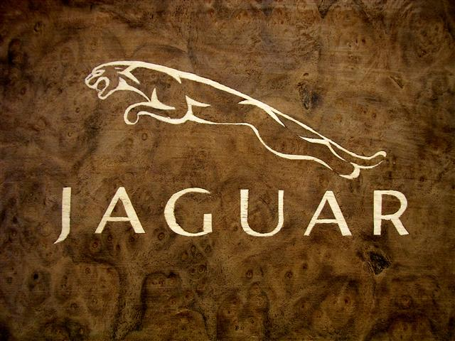 Jaguar logo in marquetry