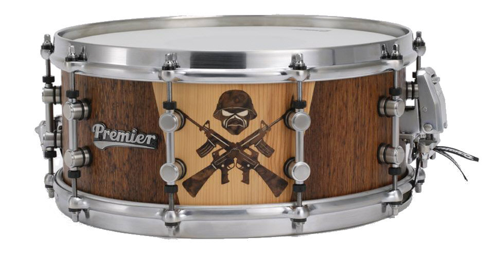 snare drum with marquetry
