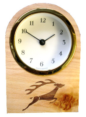 Clock with marquetry