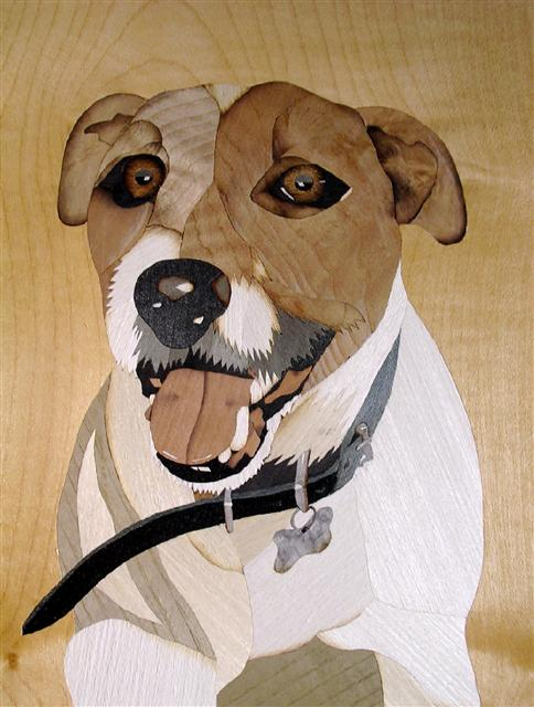 Marquetry dog portrait