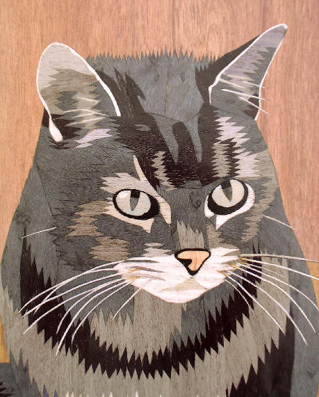 Marquetry cat portrait