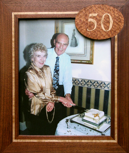 Golden Wedding photograph in marquetry frame