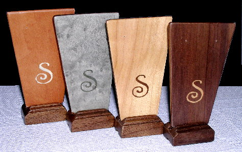 marquetry earring stands in Art Deco style