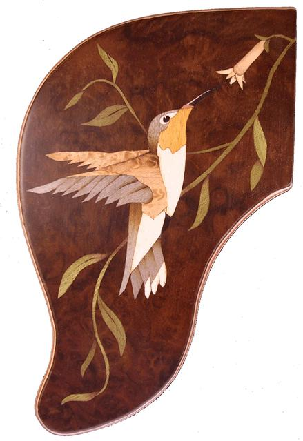 guitar trim with hummingbird marquetry design
