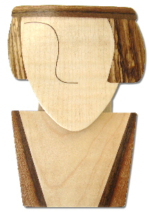 marquetry earring and pendant stand in the shape of a face