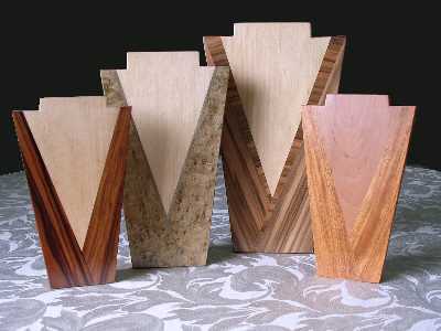 marquetry pendant stands in Art Deco style